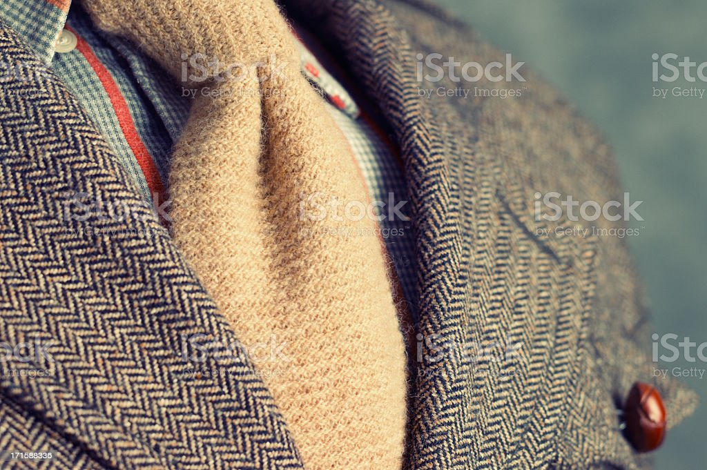 Retro vintage twill jacket with woolen necktie - Close-up stock photo