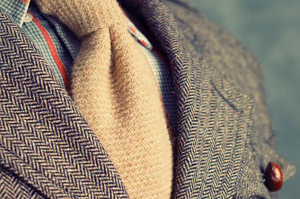 retro vintage twill jacket with woolen necktie - close-up - jacket stock photos and pictures