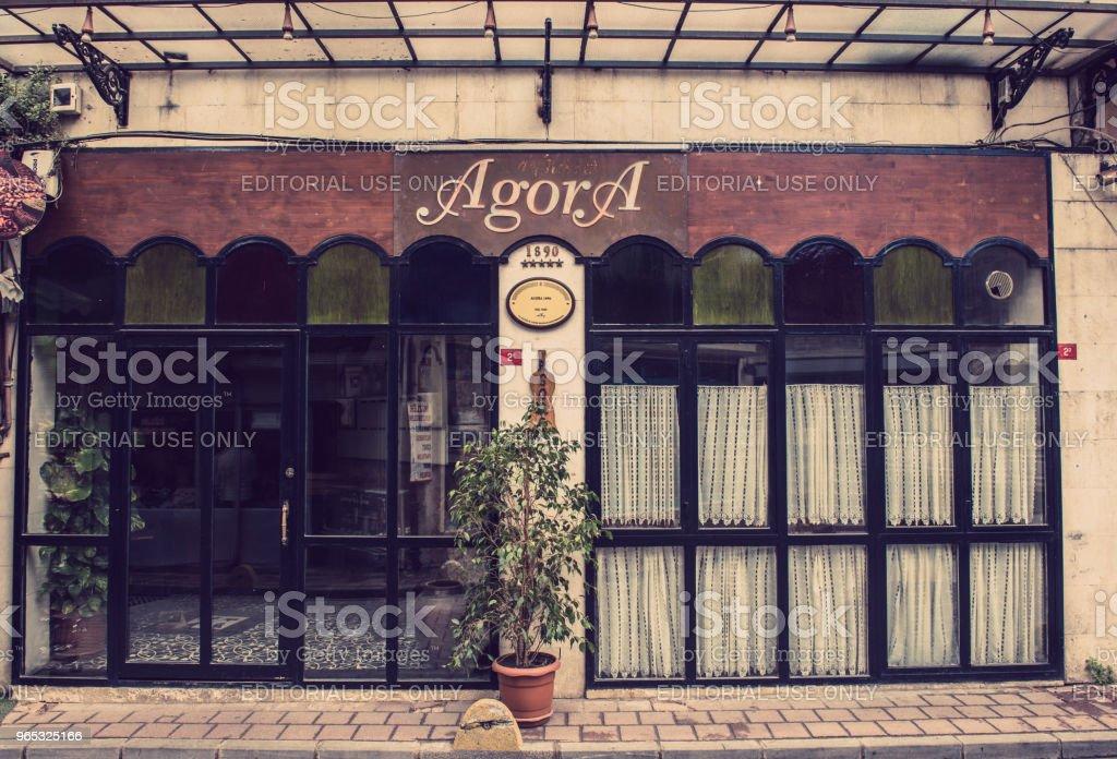 "Retro, vintage view of Agora Tavern,Bar building in Balat,Istanbul,Turkey""n zbiór zdjęć royalty-free"