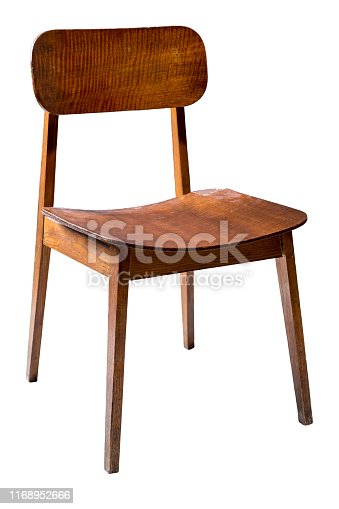 Retro vintage wooden chair isolated on white including clipping path.