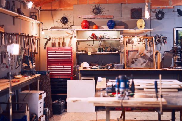 Retro / Vintage-Workshop mit Misc. Werkzeuge. – Foto