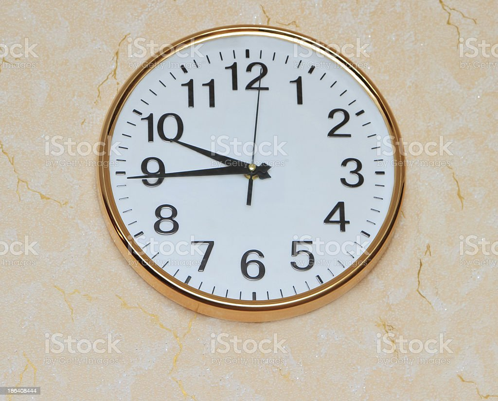 retro wall clock on old ackground royalty-free stock photo