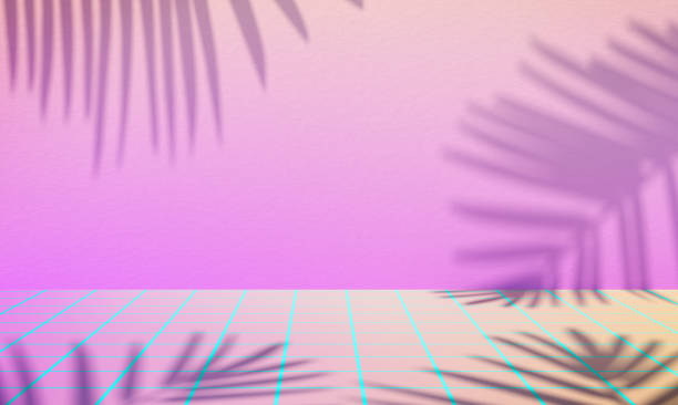 retro wave background with palm shadows. - vaporwave foto e immagini stock