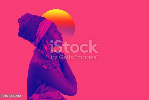 Retro wave, neon vapor wave portrait of African young woman with ethnic headwrap. Blue and pink duotone. Copy space. Studio shot. Fashion style. Mixed media art, collage.