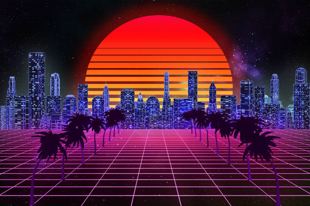 Retro wave, synthwave or vaporwave skyline scenery or landscape at night with starry sky and sun. 3d rendering abstract illustration. Arcade gaming 80's style with purple grid terrain. stock photo