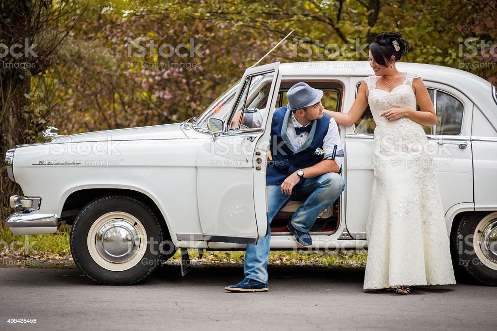 retro wedding car stock photo