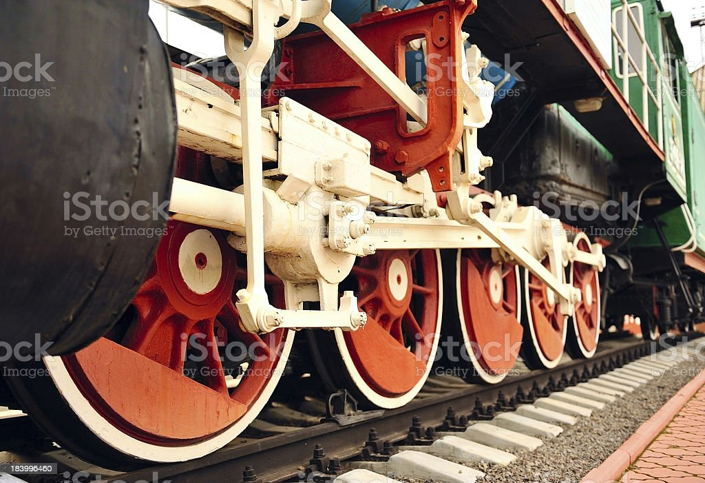 Retro wheels of the old trains. royalty-free stock photo