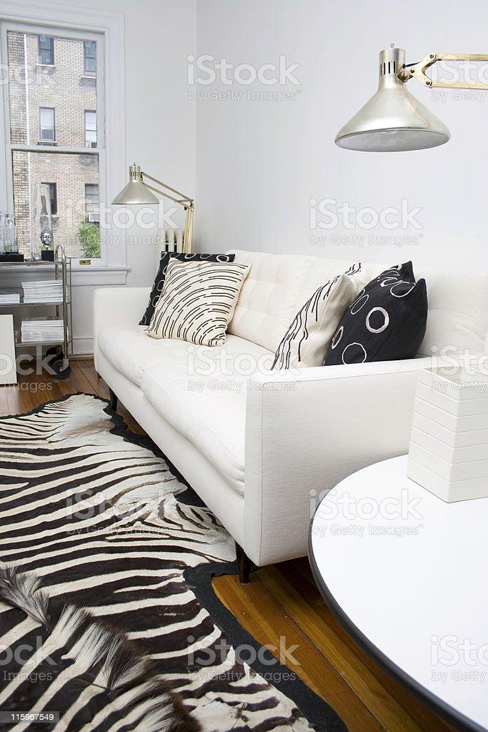 Retro White Home Interior stock photo