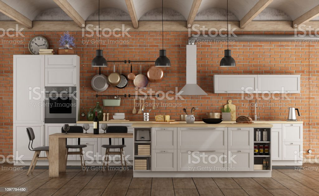 Retro White Kitchen In A Old Interior With Brick Wall Stock ...