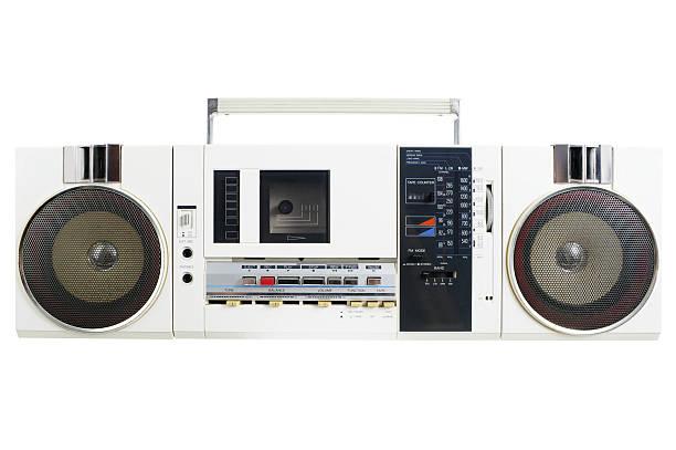 Retro White Radio Cassette Machine stock photo