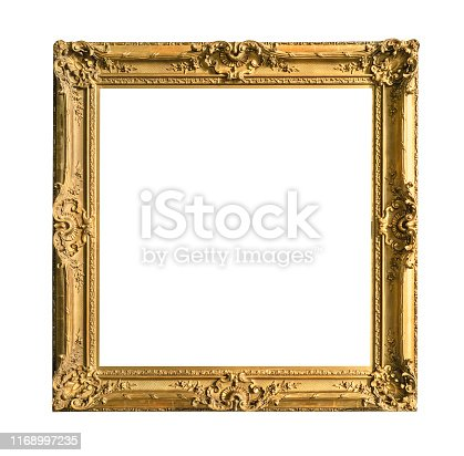 retro wide decorated baroque painting frame painted in gold color cutout on white background