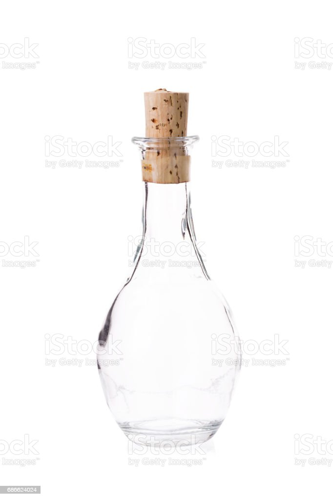 Retro wine bottle isolated on a white background royalty-free stock photo