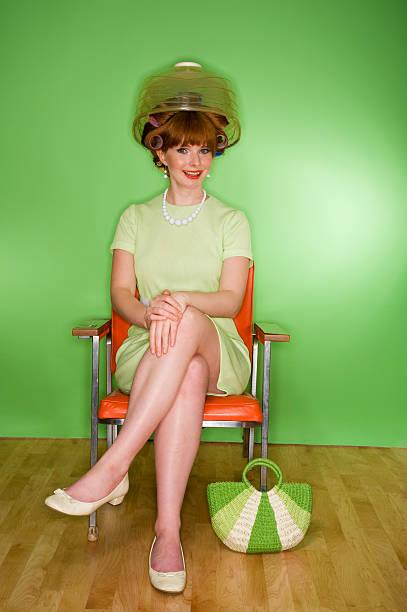 Retro Woman at Hairdresser stock photo