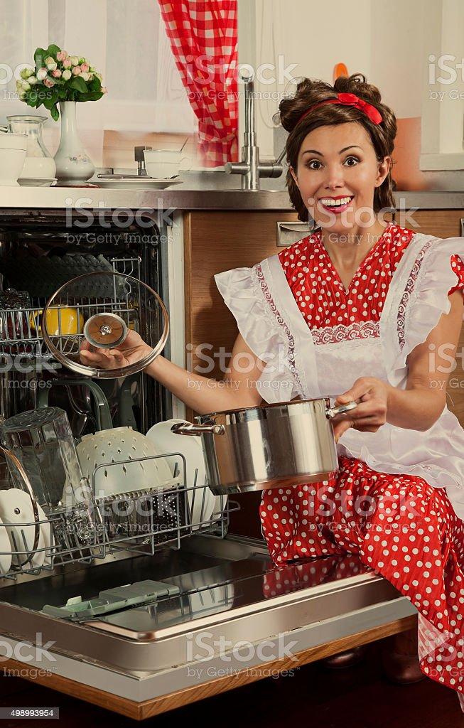 Retro woman at home stock photo