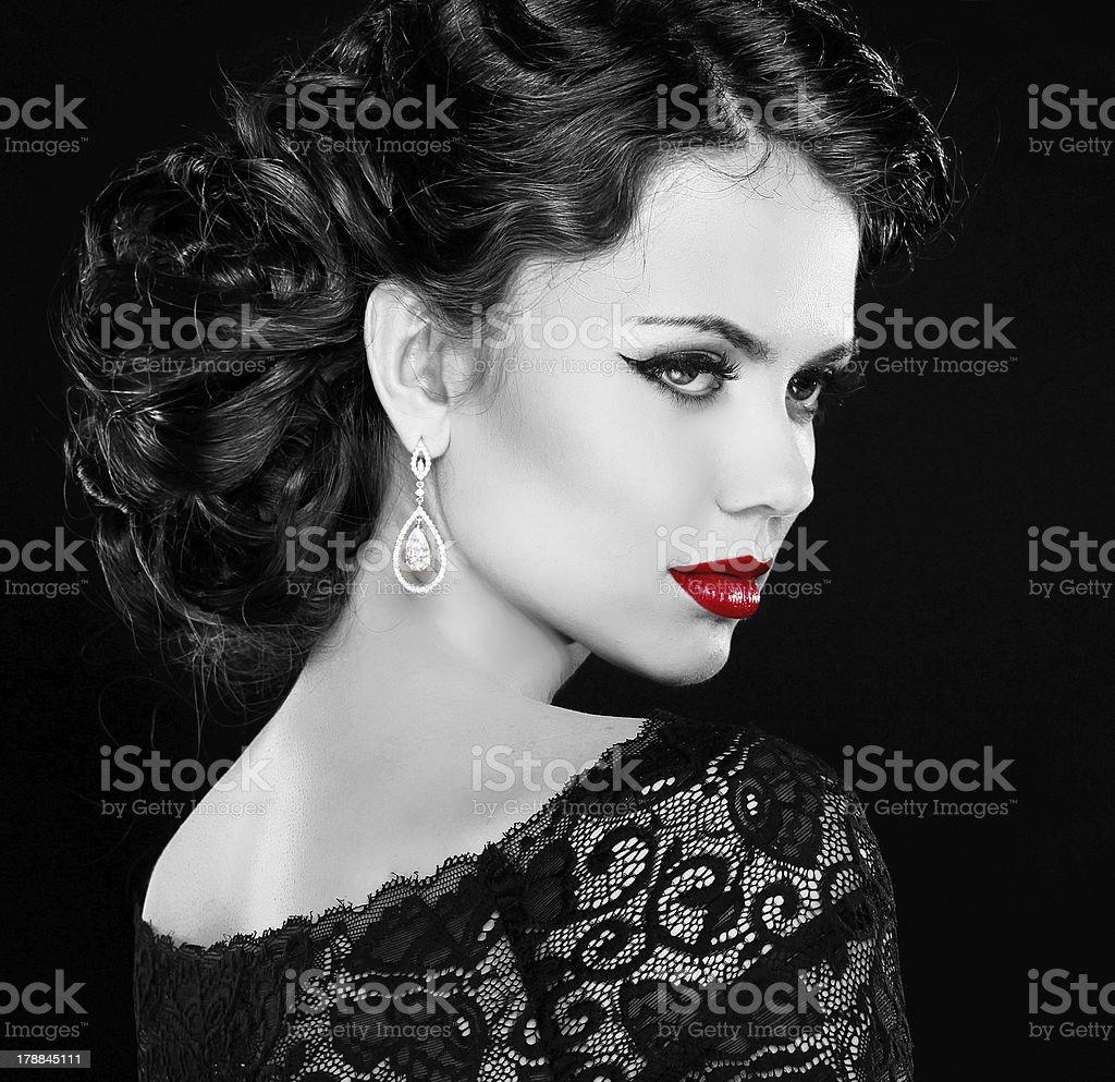Retro woman. Fashion model girl portrait. Black and white photo. royalty-free stock photo