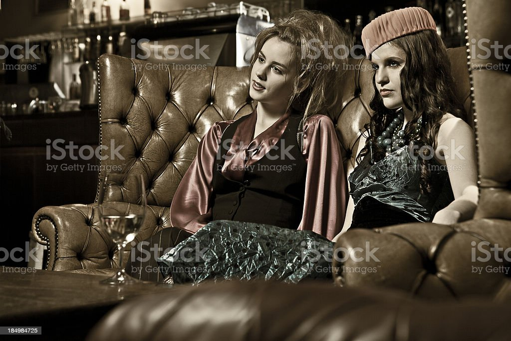 Retro Woman in a bar royalty-free stock photo