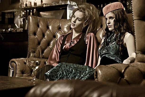 Retro Woman in a bar stock photo