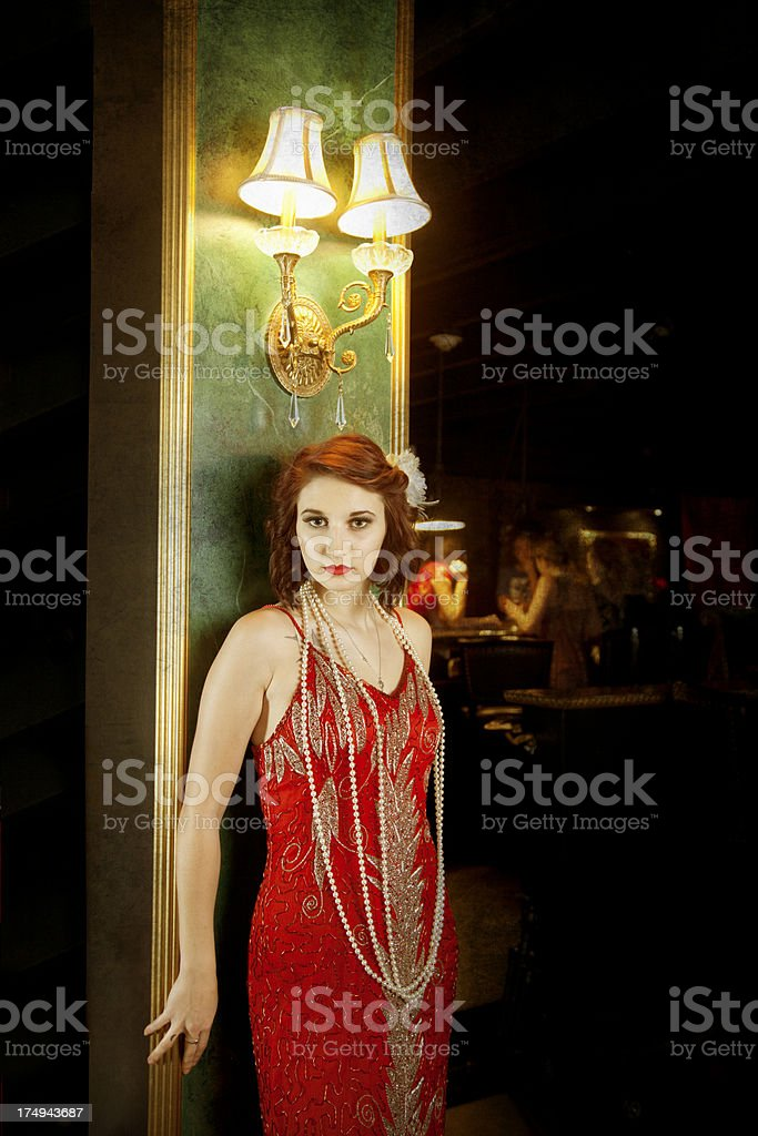 Retro Woman in Nightclub stock photo