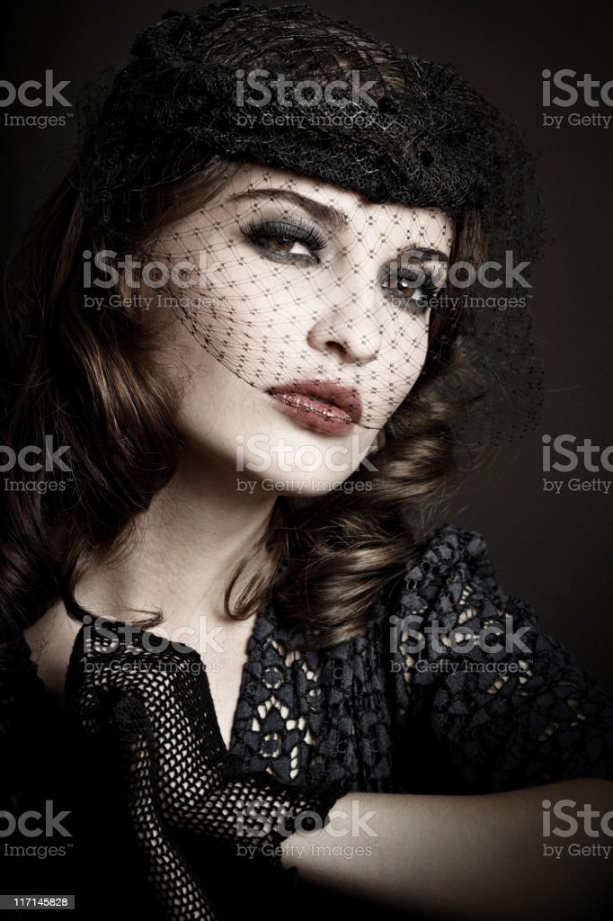 retro woman portrait royalty-free stock photo