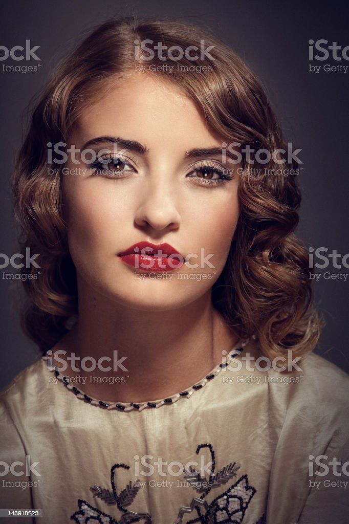 retro woman portrait royalty-free stock photo