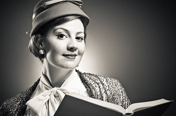 Retro Woman Reading A Book stock photo