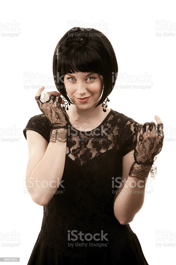 Retro woman with black hair royalty-free stock photo