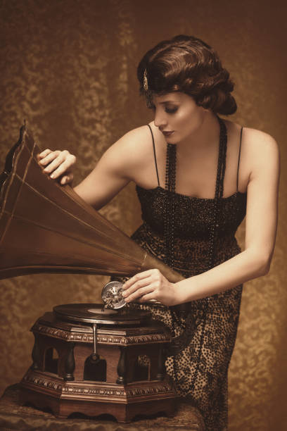 retro woman with gramophone - 1920s style stock photos and pictures