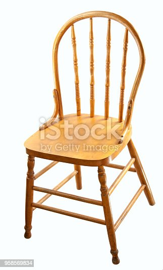Retro wood dining chair isolated on white