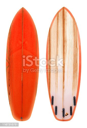 Retro wood shortboard surfboard isolated on white with clipping path for object, vintage styles.