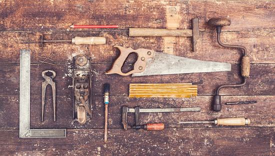 Retro wood working tools background