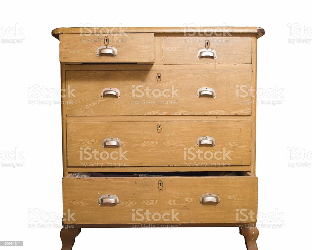 Retro wooden chest of drawers that is partially open stock photo