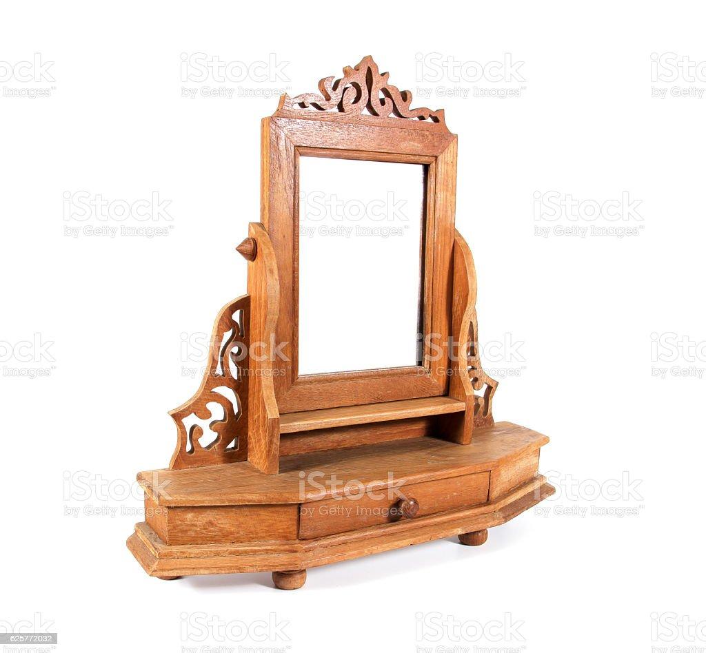 Photo Libre De Droit De Retro Wooden Dressing Table Mirror Isolated On White Background Banque D Images Et Plus D Images Libres De Droit De Ameublement Istock