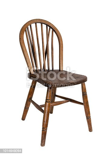 Retro wooden french dining chair isolated on white background including clipping path