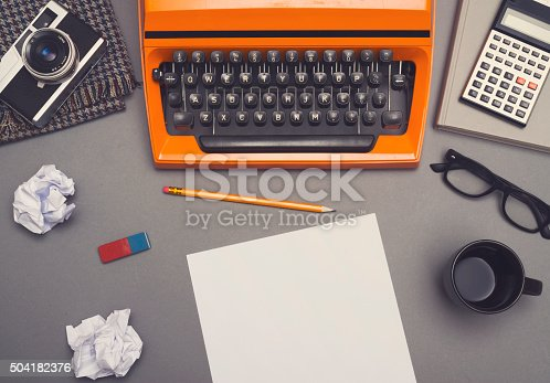 Top view of Retro writers office desk hero header