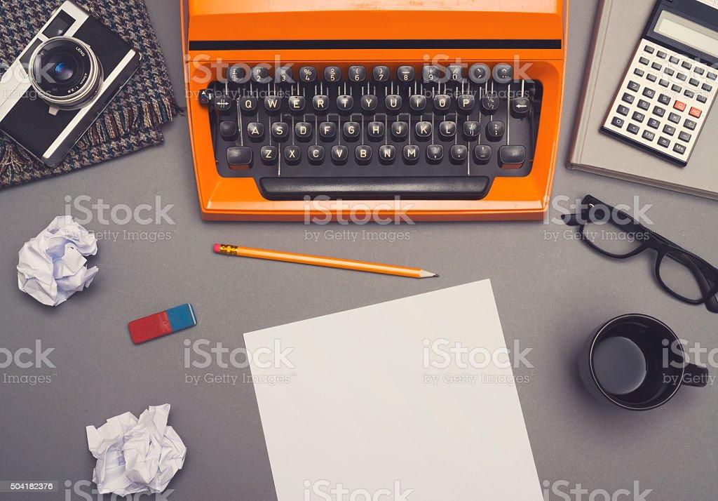 Retro writers office desk stock photo