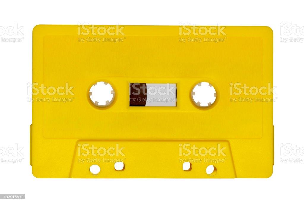 Retro yellow audio tape with stock photo
