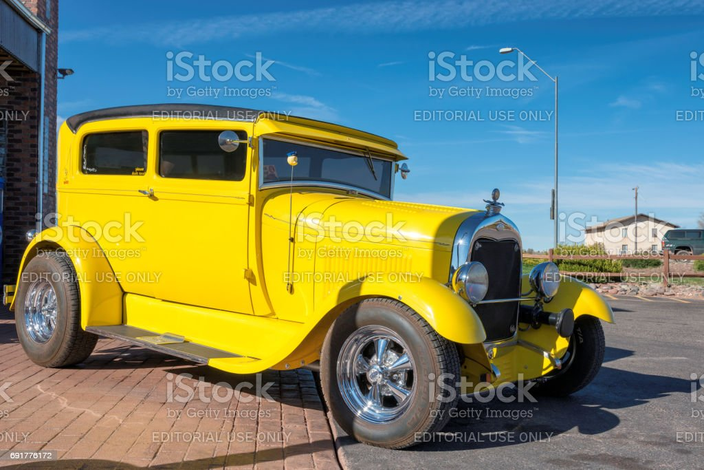 Retro yellow car stock photo