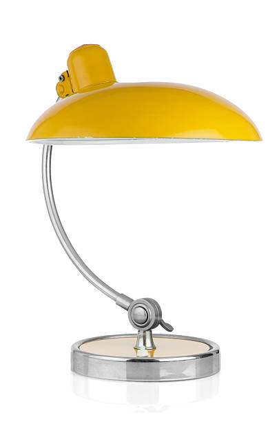 retro yellow tisch lampe - bürolampe stock-fotos und bilder