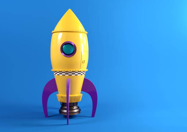 jouet jaune retro rocket - rocket photos et images de collection
