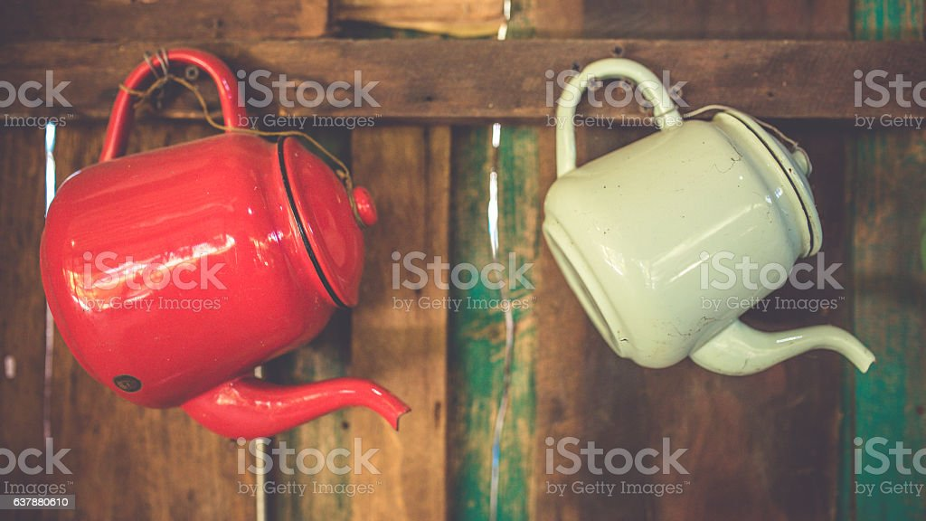 Retro Zinc multi-colored teapots stock photo