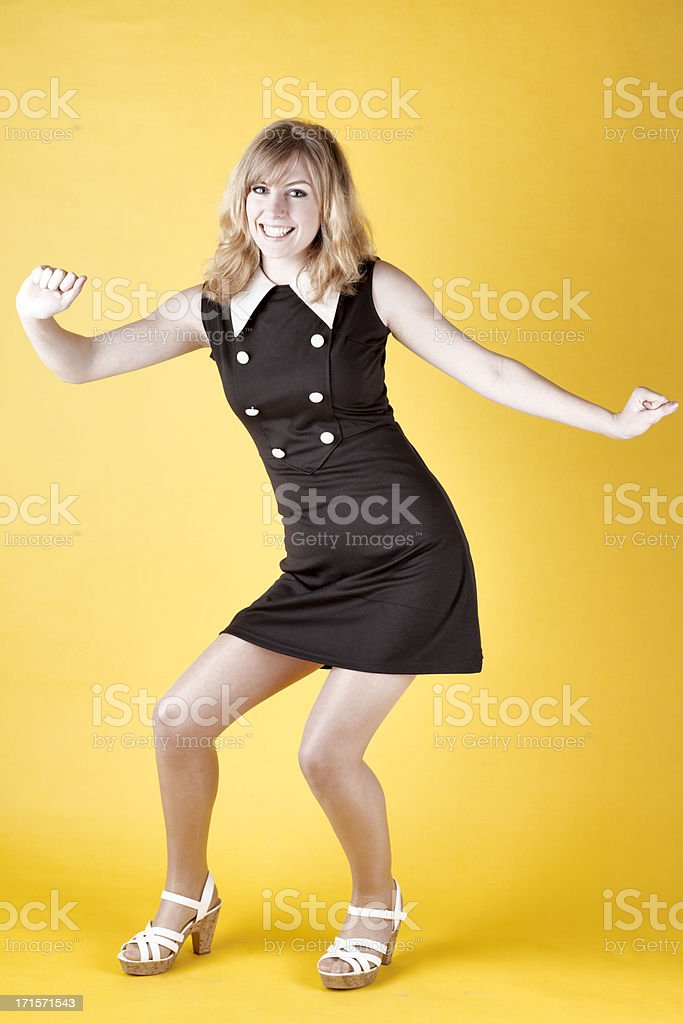 Retro-colored Photo Of A 1960s Dancer Twisting royalty-free stock photo