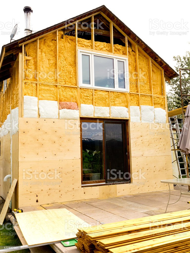 Retrofit old house with energy saving insulating stock photo