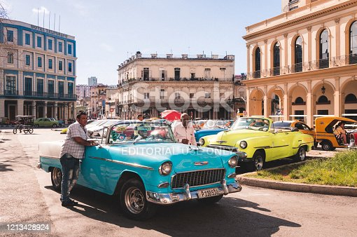 Havana, Cuba - October 03, 2018: Retro-HDR - American blue convertible 1955 Chevrolet Bel Air vintage car parked in the historical center from Havana City Cuba - Serie Cuba Reportage