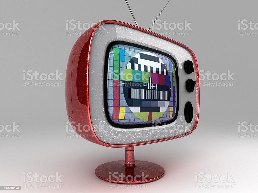 Retro/Modern TV with test patern stock photo