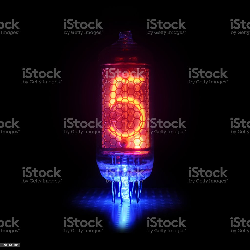retro-style gas-discharge display.    Digit 5 and point stock photo