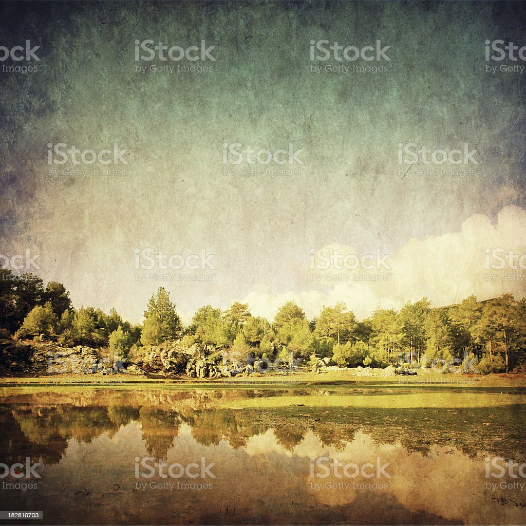 Retro-style photo of pine forest with lake royalty-free stock photo