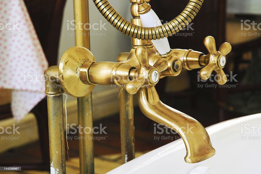 retro-styled copper faucet royalty-free stock photo