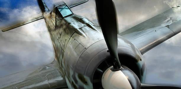 Rétro allemand Fock-Wulf 190 WWII Avion de chasse en action - Photo
