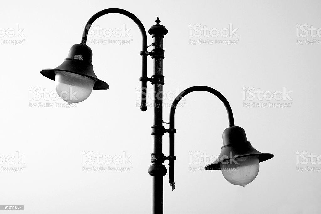 Retro-styled lamppost, black/white royalty-free stock photo