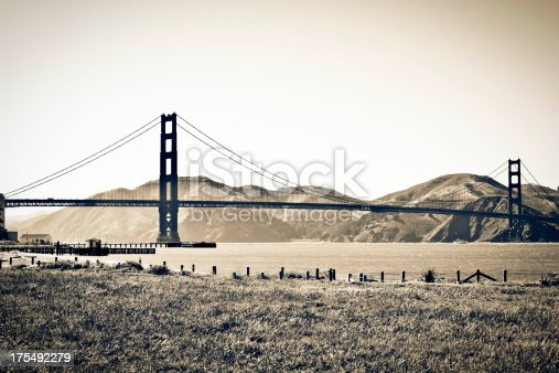Toned photo of the Golden Gate Bridge from Crissy Field.
